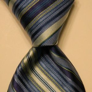 IKE BEHAR Men's Silk/Cotton Necktie STRIPED Blue